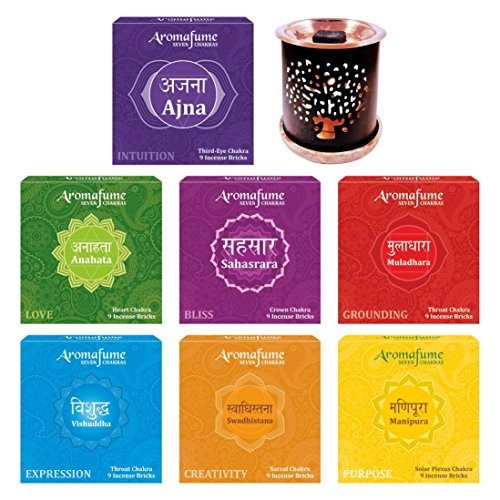 - Aromafume 7 Chakra Incense Bricks Pack of 7 Fragrances (Ajna, Anahata, Sahsrara, Swadhistana & Manipura,Vishuddha, Muladhara - 9 Pcs Each) & Tree of Life Incense Burner