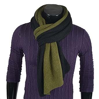 Two-tone Stylish Men Soft Knit Winter Infinity Long Scarf (Black&Green)