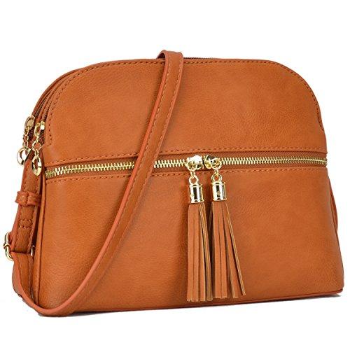 Lightweight Multi Zipper Designer Women Crossbody Bags Travel Shoulder Messenger Purse Medium Size Shoulder Bags for All Seasons (Tan Messenger Style Handbag)