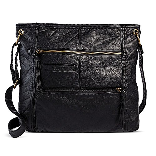 Bueno Women's Faux Leather Crossbody Handbag (Black)