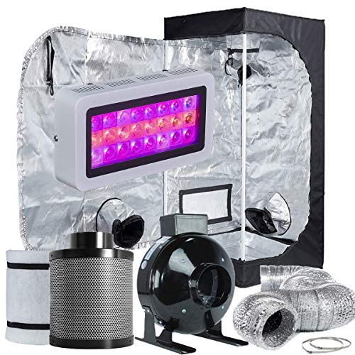 TopoLite Grow Tent Room Complete Kit Hydroponic Growing System LED 300W/ 600W/ 800W/1200W Grow Light + 4'/ 6' Carbon Filter Combo + Multiple Size Dark Room (LED300W+24'X24'X48'+4' Filter Combo)
