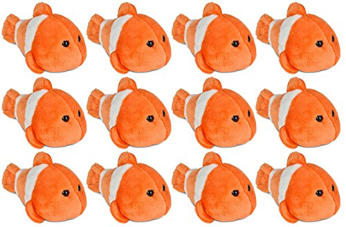 Wildlife Tree 3.5 Inch Clown Fish Mini Small Stuffed Animals Bulk Bundle of Ocean Animal Toys or Sea Party Favors for Kids Pack of 12 -