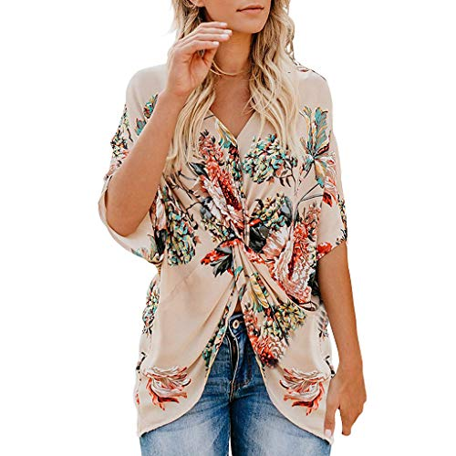 Womens Fashion Floral Blouses Boho Short Sleeve V Neck Twist Ruched Tunic Tops Loose Casual T Shirts Beige