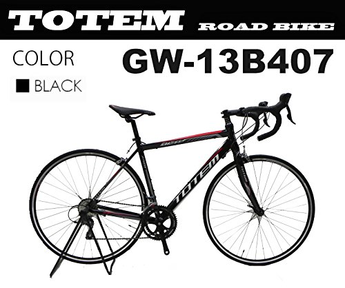 ロードバイク スポーツバイク 自転車 超軽量アルミフレーム 700C ダブルクイックハブ シマノ SHIMANO 全国送料無料 最安値 TOTEM トーテム 通勤通学 26インチ STIレバー デュアルコントロールレバー 13B407 B077KSMLQ6ブラック