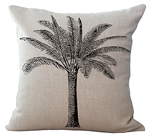 (ChezMax Coconut Palm Tree Cushion Cover Cotton Linen Throw Pillow Case Sham Square Pillowcase for Living Drawing Family Room Sofa Chair Seat)