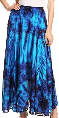 Sakkas Ester Femmes Simple Boho Maxi Full Circle Jupe tie-Dye avec Taille lastique Bleu / Turq
