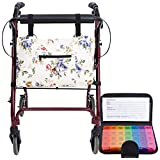 Rollator Walker Accessories with 7 Day Pill Organizer Box - Seniors Travel Storage Caddy Pouch Bags - Elderly Rollator Accessories with Weekly Medicine Case Container - Tote Holder Pockets & Pillbox