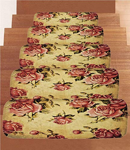 SoSung Roses Decorations Coral Fleece Stair Treads,Stair Tread Mats,Old Fashioned Victorian Style Rose Pattern with Dramatic Color Boho Art Design,(Set of 5) 8.6