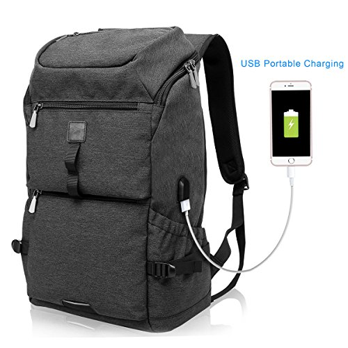Tocode Water Resistant Laptop Backpack with USB Charging Port Fits up to 15.6-Inch Laptop Travel Work School College Bag Black