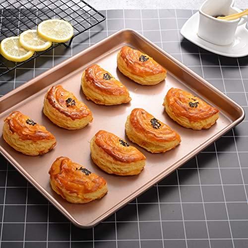 JOHO Baking Sheet Pans Cookie Sheet,Nonstick Bakeware Cookie Pan Set,Cookie Baking Pan for oven,2-Piece,Gold