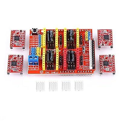 CNC Shield Expansion Board,CNC Shield Expansion Board+4Pcs A4988 Stepper Motor Driver For Engraver 3D Printer