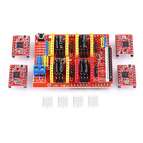 CNC Shield Expansion Board,CNC Shield Expansion Board+4Pcs A4988 Stepper Motor Driver For Engraver 3D Printer by Hilitand