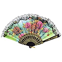 SODIAL(R) Lady flower Print Chinese Japanese Foldable Hand Fan Black