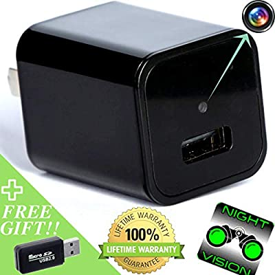 Spy Camera > Hidden Camera > Night Vision HD 1080p Video and Motion Detection for Surveillance Security System Perfect as Nanny Cam USB Wall Charger from Dream Co.