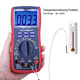 ETEPON Digital Multimeter 6000 Counts True RMS Auto Manual Raging Volt Tester, Measures Voltage Current Resistance Continuity Frequency Capacitance Temperature Test Diodes Transistors WH5000A