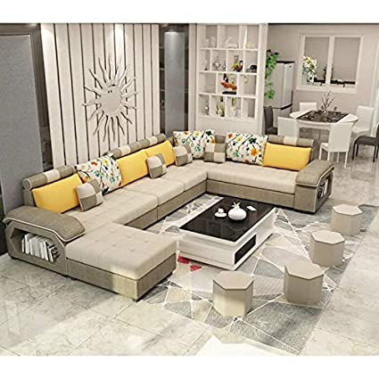 Best furniture Living and Dining Hall Nylon U Shape Sofa Set 3+2+2, Corner,  4 Pease Puffy, Dewan, Standard Size- Khaki