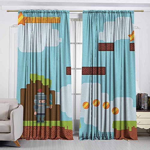 VIVIDX Sliding Door Curtain,Video Games,Arcade World Kids 90s Fun Theme Knight with Fireball Bonus Stars Coins Image,Energy Efficient, Room Darkening,W63x45L Inches Multicolor