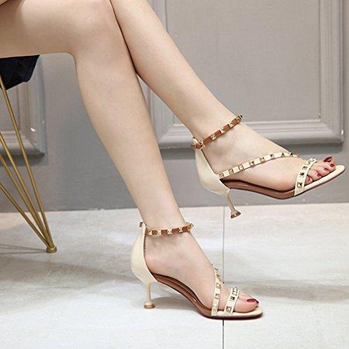 Rivets Ladies Roman Ankle Heel Strap Fashion Sex Beige Buckle Dress Womens T Pumps JULY Open Stilettos Slides Studded Platform Toe EZqE4Xw