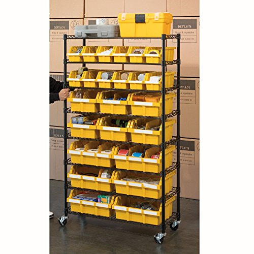 Industrial Kitchen Storage: Seville Classics Commercial 8-Tier Black/Yellow NSF 24-Bin