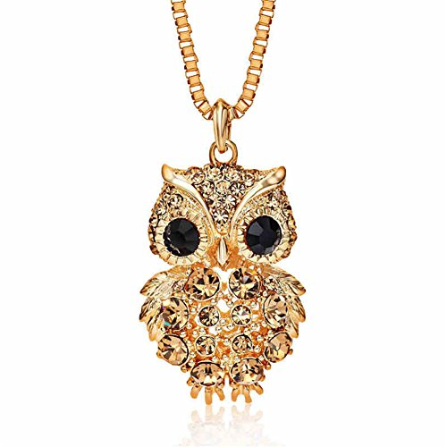 Owl Vintage Necklace (Kacon Vintage Owl Necklace Full Diamond Chain Creative Crystal Pendant Necklace (Gold))