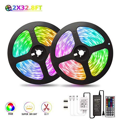 65.6ft/20M LED Strip Light DreamColor SyNong Soft RGB Rope Lights 5050 SMD 600 LEDs Non Waterproof 2x10M Tape Light with 44 Keys IR Remote Control and 12V Power Adapter for Room Kitchen Festival Deco