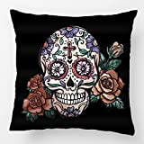 LDJ Cotton Polyester Square Throw Pillow Case Decorative Cushion Cover Pillowcase Design With Cool Day Of The Dead Sugar Skull With Roses Custom Pillow Cover Print Double Side Sized 20X20 Inches