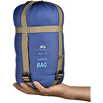"""BESTEAM Ultra-light Warm Weather Envelope Sleeping Bag, 75""""L x 30""""W, Outdoor Camping, Backpacking & Hiking - Fit for Kids, Teens and Adults - Spring, Summer & Fall - Waterproof & Compact (Dark Blue)"""