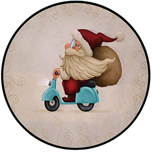 Line Shower Select Chair (Printing Round Rug,Christmas,Old Santa Claus Delivering Presents on His Motorcycle Swirled Lines Frame Decorative Mat Non-Slip Soft Entrance Mat Door Floor Rug Area Rug For Chair Living Room,Red Tan L)