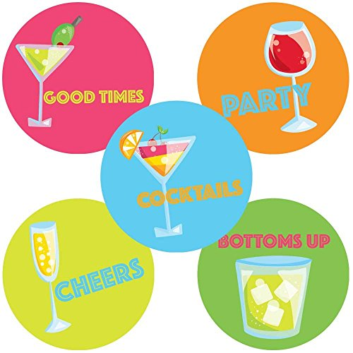 Colorful Cocktails (Colorful Cocktail Party Sticker Labels - Bachelorette Wedding Envelope Seals and Favors - Set of 50)