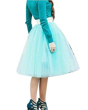 SaiDeng Faldas Tul De Fiesta Para Mujer Señora Faldas Plisada De Hilo De Moda Celeste