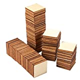 Unfinished Wood Pieces - 100-Pack Wooden Squares Cutout Tiles, Natural Rustic Craft Wood for Home Decoration, DIY Supplies, 1 x 1 inches