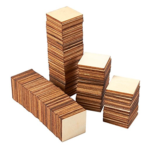 Unfinished Wood Pieces - 100-Pack Wooden Squares Cutout Tiles, Natural Rustic Craft Wood for Home Decoration, DIY Supplies, 1 x 1 inches -