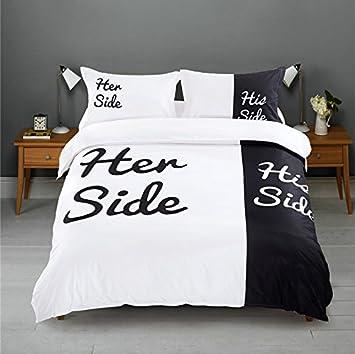 Bettwäsche Bettbezüge His Side Her Side Schwarz Queen Size Amazon