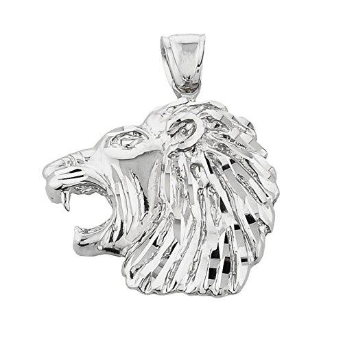 10 ct 471/1000 Or Blanc Diamant Coupe Tete De Lion Pendentif