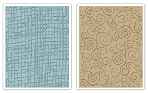 Sizzix Texture Fades Embossing Folders 2PK - Burlap & Swirls Set by Tim Holtz by Sizzix
