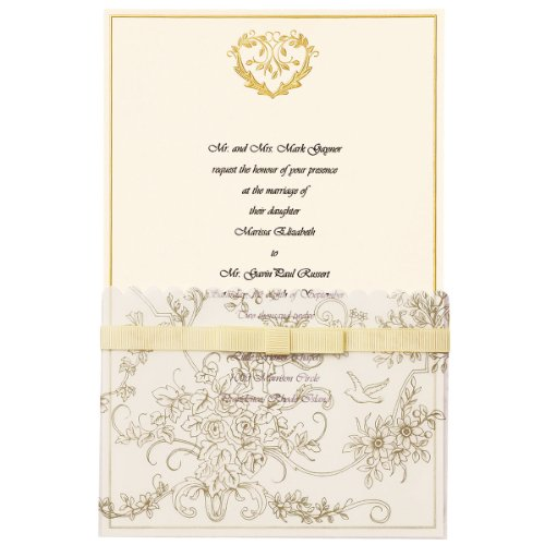 Wilton 25-Pack Wedding Toile Invitation, Gold