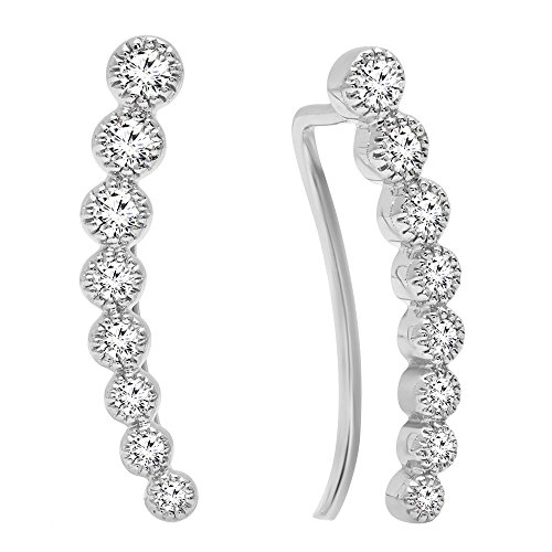 Dazzlingrock Collection 0.40 Carat (ctw) 14K Round White Diamond Ladies Journey Curved Climber Earrings, White Gold