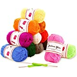 Fuyit 100% Acrylic Yarn 12 Assorted Colors Skeins 1310 Yards Total Bonbons Yarn with 2 Crochet Hooks for Crochet and Knitting Any Craft Subjects