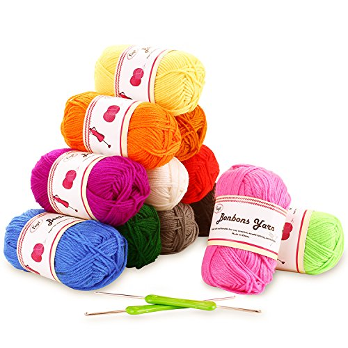 Fuyit 100% Acrylic Yarn 12 Assorted Colors Skeins 1310 Yards Total Bonbons Yarn with 2 Crochet Hooks for Crochet and Knitting Any Craft Subjects by Fuyit
