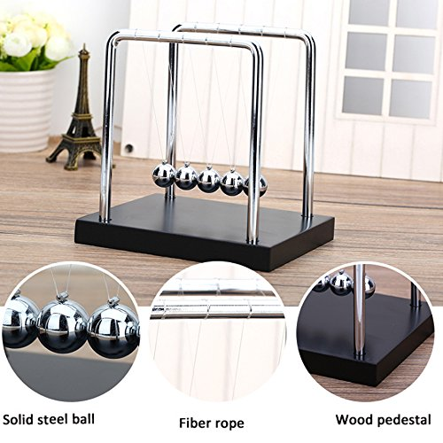 Newtons Cradle For Learning & Education  , Stainless Steel Balance 5 Balls With Wooden Base  , Science Physics Puzzle Pendulum Desk Office Classic Unique Toy Games For Families , Many People , Kids
