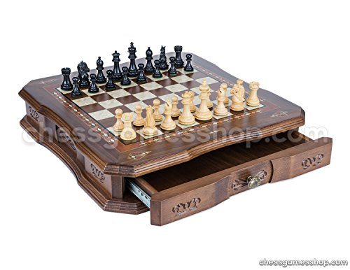 - Luxury chess set, Wooden Sheesham chessmen BLACK, Handmade WALNUT board with drawer and mosaic art