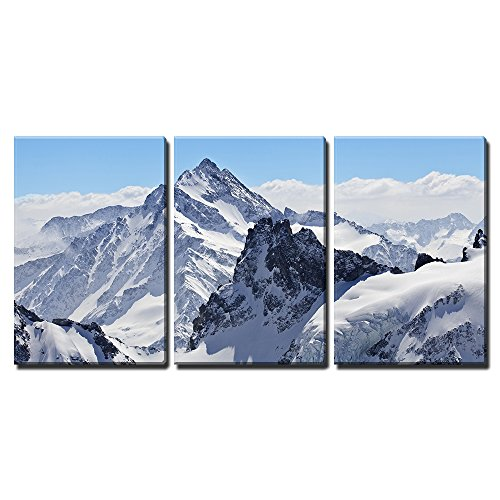 """Wall26 - 3 Piece Canvas Wall Art - Winter Landscape in the Matterhorn - Modern Home Decor Stretched and Framed Ready to Hang - 16\""""x24\""""x3 Panels"""