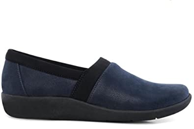 4cb7f737861 Clarks Women s CloudSteppers Sillian Blair Wide Fit E Navy Slip On Flat  Loafers