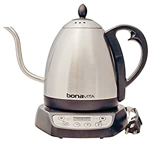 Bonavita BV382510V 1-Liter Variable Temperature Digital Electric Gooseneck Kettle, Metallic