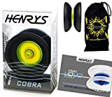 Henrys COBRA YoYo (Black/Yellow) Professional YoYo +Instructional Booklet of Tricks & Travel Bag! Pro YoYos For Kids and Adults!