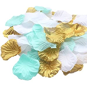900 Pack Mixed Mint Gold White Artificial Silk Flower Rose Wedding Centerpieces Wedding Confetti Table Scatters Flower Girl Basket Aisle Decoration Girl Boy Birthday Bridal Shower Favor 19