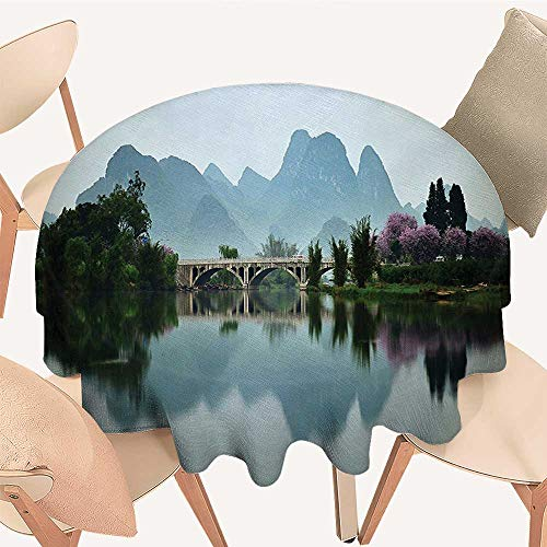 Dragonhome Premium Round Tablecloth Japanese National Park Bridge Reflections of The Mount on The Lake Scenery Everyday Use, 70 INCH Round