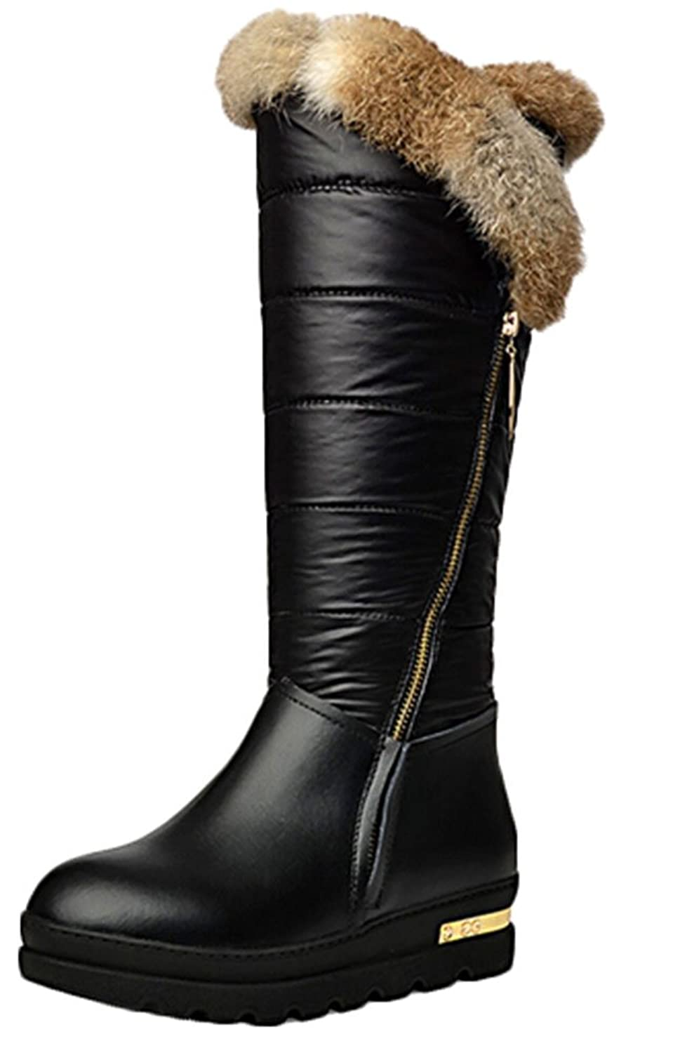 2014 Winter the New Rabbit Hair Feather Velvet Boots Warm Woman Cotton Shoe Flat Woman in Tube Boots Trifle Thick Crust Snow Boots