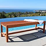 Vifah V025-1 Outdoor Baltic Wood Garden Backless Slatted Seat Bench, 5-Feet For Sale