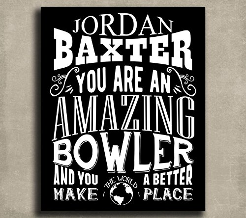 Amazing Bowler Custom Plaque Tin Sign Gift for Men or Women Bowling Award Gift For Winner Typography Personalized Metal Art Print #1277